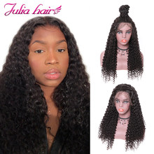 Ali Julia Hair 360 Lace Front Wigs Brazilian Curly Remy Human Hair Wig 150% 180% Density For Choice Soft Swiss Lace Frontal(China)