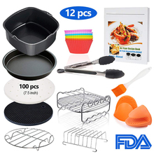 Square Air Fryer Accessories Fit for Philips, COSORI, NuWave Brio and other Square Air Fryers 12 Pcs Air Fryer Accessories