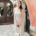 Linen Dress 2016 Summer Korean Vintage Striped Slim High Waist Bow Sash Sleeveless Long Dress Khaki Retro vestidos de festa D159