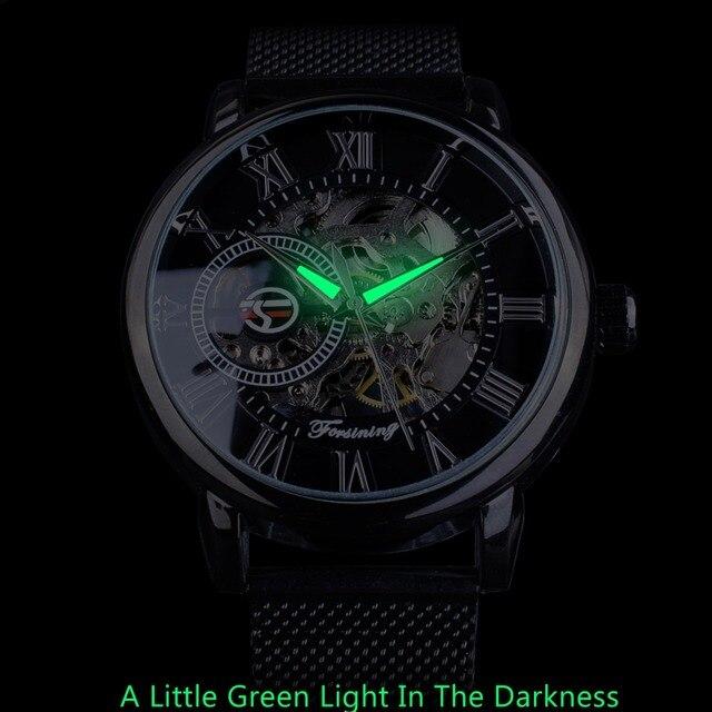 Skeleton  Watch with Luminous Transparent Mesh Bracelet  2