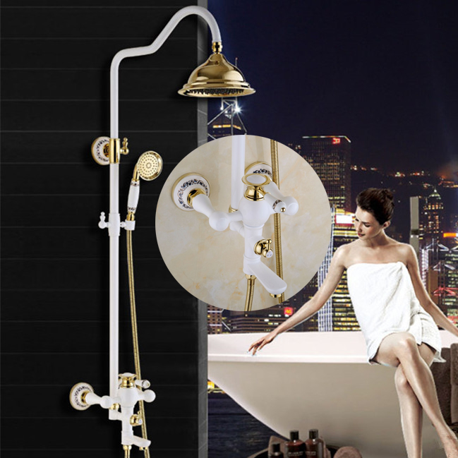 Bathtub Faucet Brass Golden White Paint Bathroom Shower Faucet Wall Mount Round Rainfall Shower Head Handheld Bath Tap YLS5870-E china sanitary ware chrome wall mount thermostatic water tap water saver thermostatic shower faucet