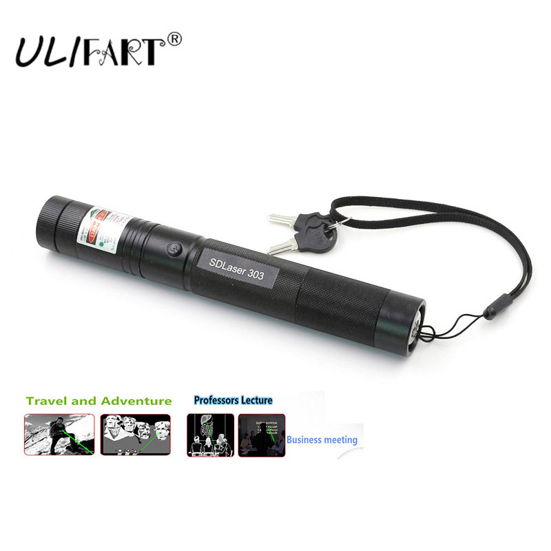 ULIFART High Power Laser Pointer Green Lazer Pen Adjustable Focal Burning Tactical Lazer Torch 303 With Star Cap And Safety Key