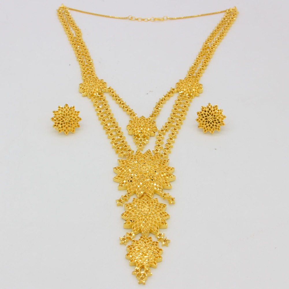 Fashion 60cm 23 6inch Necklace Earrings Jewelry Sets For Women Gold Color Arab Ethiopian Jewelry Fashion 60cm/23.6inch Necklace/Earrings Jewelry Sets For Women Gold Color Arab/Ethiopian Jewelry Luxury Wedding Gifts