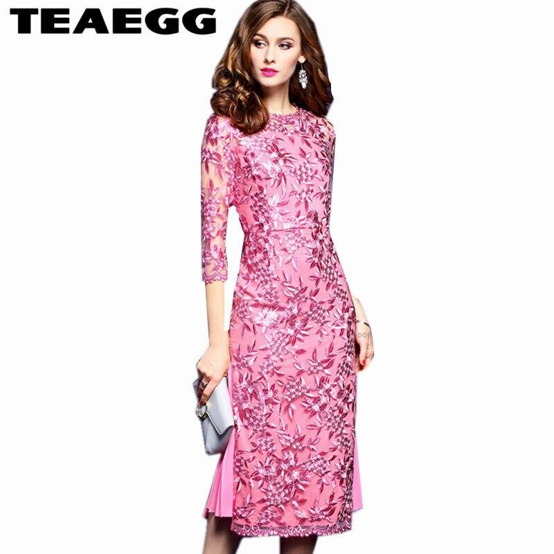 Teaegg элегантное розовое платье с вышивкой Для женщин S Костюмы роковой Roupa feminina осенние платья 2017, женская обувь футляр al220