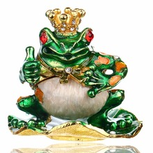 2.7′ Metal Figurine Frog Trinket Box Ring Holder Earring Jewelry Stands Storage Box Wedding Jewelry Case Souvenirs Gift Crafts