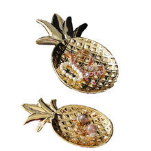 VILEAD 12 7.8 Ceramic Pineapple Plate Figurines Gold Plating Jewelry Tray Decoration Modern Fruit Dish Home Decor