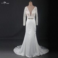 RSW1209 Sexy V-ausschnitt Langarm Meerjungfrau Hochzeitskleid