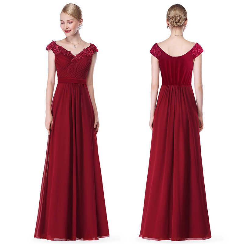 Robe De Soiree 2020 EB23368 Elegante Una Linea di Collo A V Appliques Vestito Da Sera Convenzionale Lungo abito Rosso Formale Abiti Da Festa di Nozze più il Formato