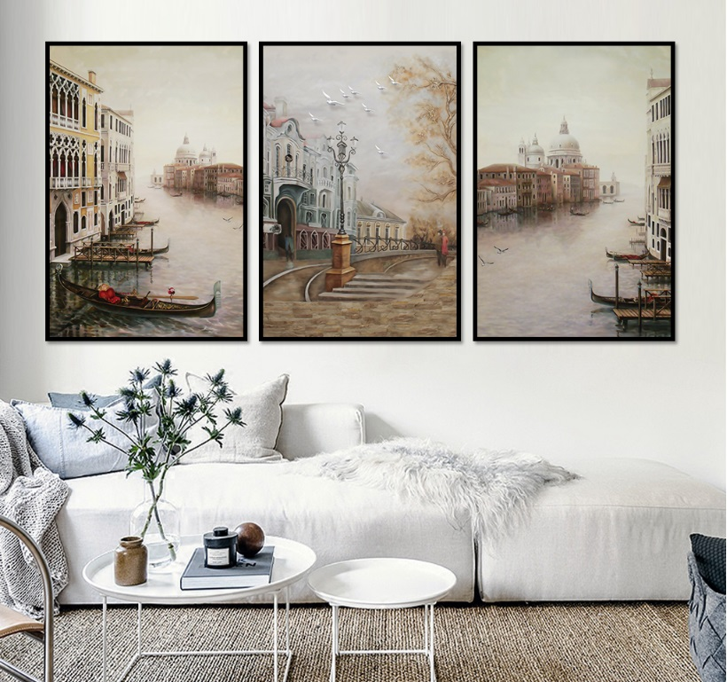 Modular Pictures Decoration Canvas-Paintings Landscape Wall-Art No-Framed Water-City