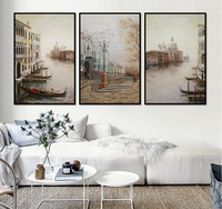 3 Pieces Water City Landscape Canvas Paintings Modular Pictures Wall Art Canvas For Living Room Decoration