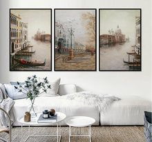 Water City Landscape Canvas Paintings Modular Pictures Wall Art Canvas for Living Room Decoration No Framed(China)