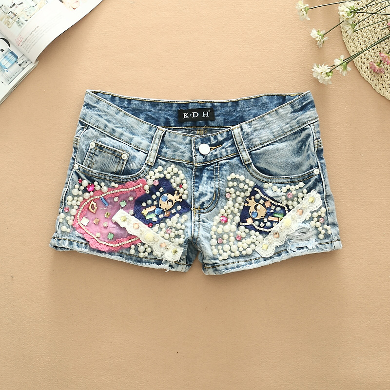 Spring 2016 Korean Fashion All Leisure match Patchwork Bead Set Denim Shorts hot sequins stitching pearl studded female jeans