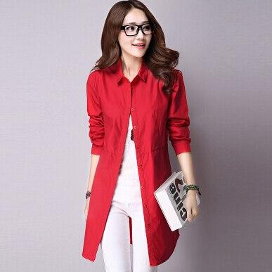 4d29c2811caf7 Mujeres blusas largas blusas femeninas Europea vintage Turn Down collar  manga larga desgaste de trabajo Camisas casual tops en Blusas y camisas de  La ropa ...