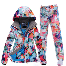 GSOU SNOW Women winter ski suits outdoor windproof waterproof warm ski jacket and pants High Quality Camouflage Women's Jackets