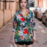 floral printed women's jacket blazer feminino blazer women a jacket chaqueta mujer famale jaket women blazers and jackets coats