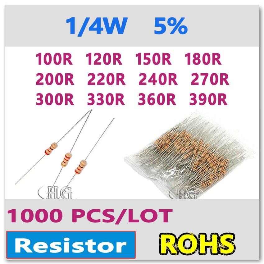 JASNPROSMA 1000PCS 5% 1/4W 100R 120R 150R 180R 200R 220R 240R 270R 300R 330R 360R 390R Carbon Film DIP OHM Color Ring Resistor