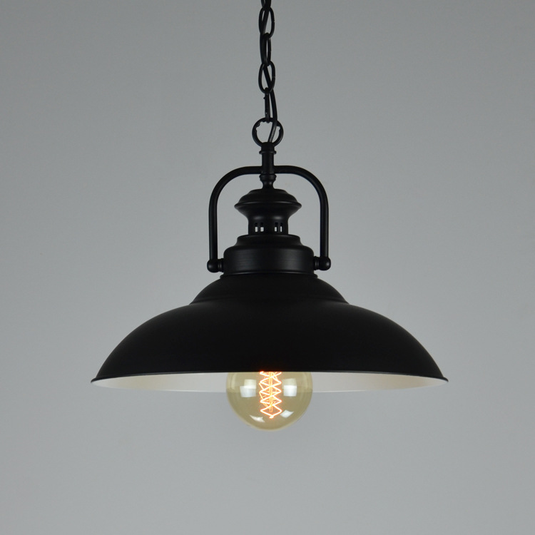 Black Retro Iron Pendant Lights For Loft Warehouse Dia 32