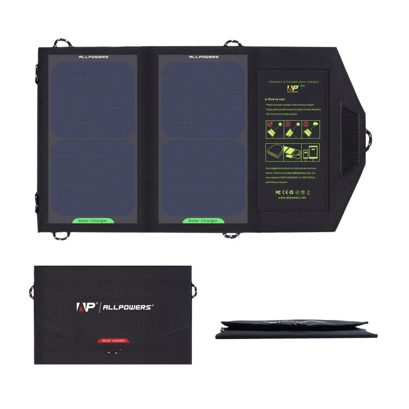 ALLPOWERS 10W Solar Cell Charger Solar Panel Battery for cellphone, iPhone 6s  6 Plus, iPad mini, Galaxy S6 and More