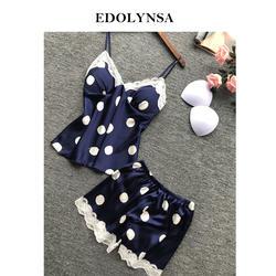 2019 горошек печатных атласные Короткие пижамы наборы для ухода за кожей Twinset Ночная одежда для женщин одежда ночные рубашки домашний костюм