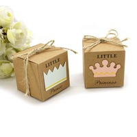 50 PCS Candy Gift Box Kraft Paper Boxes Brown Cardboard Candy Gift Favor Box With Burlap