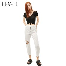 HYH Haoyihui Youth College Machine Midriff  Knitting Femme Simple V-neck Summer Stylish Contracted Pleated Short Sweater
