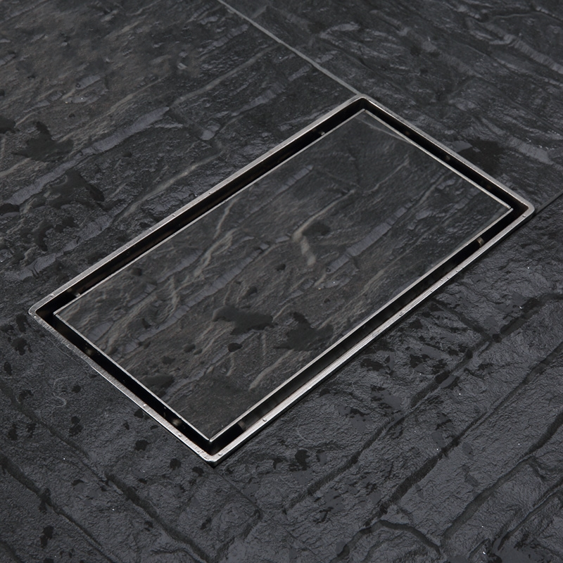ФОТО High-quality Large flow 200*100mm Invisible floor drain,304 stainless steel Thickened waste floor drain,For high-end residential