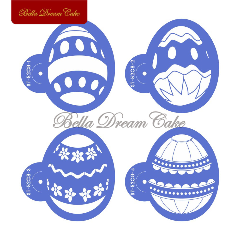 4pc Easter Egg Cake Stencil Cookies Stencils Template Plastic Mould For Cupcake Decorating Fondant Tools Mold