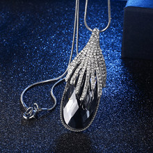 DuoTang Trendy Water Drop Gray Blue Crystal Necklace Metal Rhinestone  Silver Color Classic Sweater Chain Necklace Women Jewelry a98a6282cd10