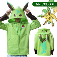 Pokemon Go Leafeon Winter Warm Coat Sweater Hoodie Thermal Cosplay Cute With Ears For Lovers Couple