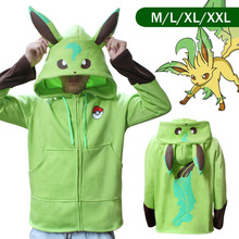 Pokemon Go Leafeon Winter Warm Coat Sweater Hoodie Thermal Cosplay Cute With Ears For Lovers Couple Boys Girls Xmas Gift