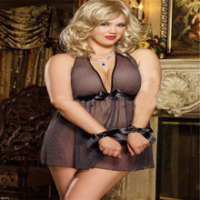 Big yards sexy perspective net yarn black bowknot belt nightgown lingerie that occupy the home