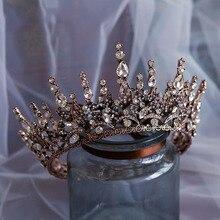 バロッククリスタルウェディングクラウン女王ブライダルティアラ花嫁カチューシャパーティーアクセサリー王冠結婚髪の宝石の装飾品
