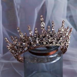 Image 1 - Barokke crystal wedding crown koningin bruids Tiara bruid hoofdband party accessoires diadeem huwelijk haar sieraden ornamenten