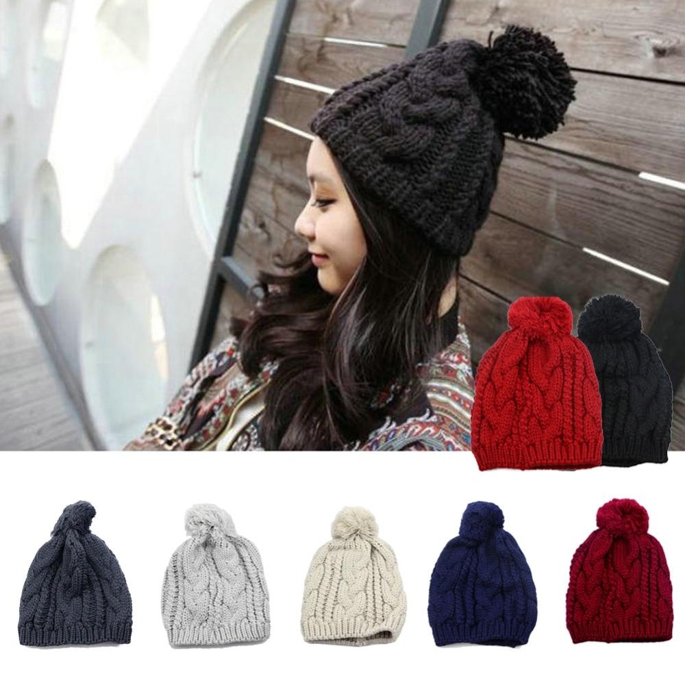 New Hot Fashion Winter Warm Women Men Knit Beanie Ball Cuff Wool Hat Ski Cap hot winter beanie knit crochet ski hat plicate baggy oversized slouch unisex cap