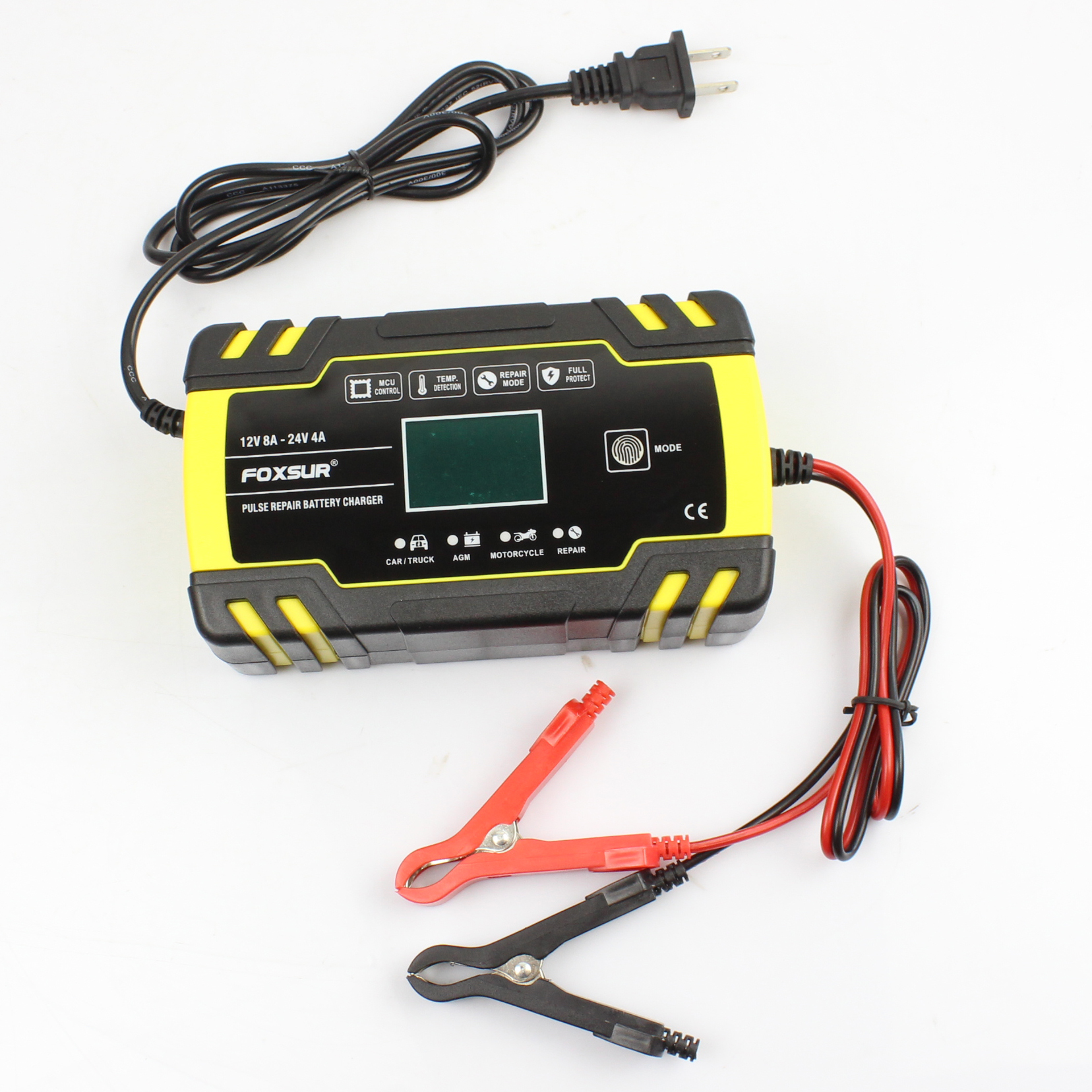 <font><b>FOXSUR</b></font> 12V 8A 24V 4A 3-stage Smart <font><b>Battery</b></font> <font><b>Charger</b></font>, 12V 24V EFB GEL AGM WET <font><b>Car</b></font> <font><b>Battery</b></font> <font><b>Charger</b></font> with LCD display & Desulfator image