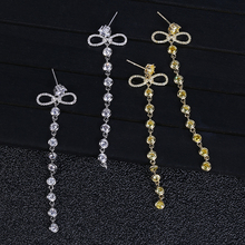 Trendy Luxury Long Tassels Dangle Earrings For Women Wedding Cubic Zircon Crystal African Dubai Silver Bridal Earring E2928