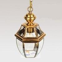 Бесплатная Доставка 1 шт. балкон античный подвесной светильник медь Винтаж Подвеска лампы бар коридор сад свет открытый и крытый свет