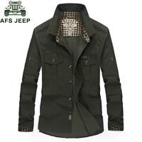 AFS JEEP Brand Plaid Shirt Men Military Casual Long Sleeve Chemise Homme Cotton Plus SIZE 3XL