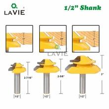 """LAVIE 3 sztuk 12mm 1/2 """"Shank 45 stopni blokady Miter bity klej wspólne zestaw 1/2"""" 3/4 """"1"""" zdjęcie drewna czop frezy do drewna 03025"""