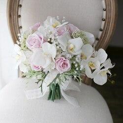 Romantic Ivory Pink Cascading Bridal Bouquets De Mariage Roses Orchid Artificial Silk Flower Wedding Bouquet 2018 ramo de flores