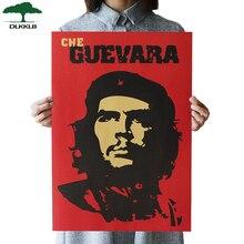 DLKKLB Che Guevara персонаж Ретро плакаты настенные художественные ностальгические старинные настенные Стикеры для бара кафе 51,5x36 см декоративная живопись