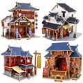 3D Wood Puzzle DIY Model Kids Toy Acient Chinese Construction buildings Style House Puzzles wooden Toy gifts