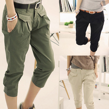 SHUJIN Women Summer Cargo Pants pantalon femme Casual Loose Solid Calf Length