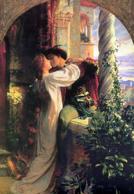 Classic Portrait Oil Painting on Canvas Wall Decoration Art Painting Frank Dicksee Romeo and Juliet Romantic Lovers Hand Painted