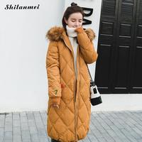 2017 Fashion Korea Down Jacket With Fur Hood Girls Long Winter Coat Women Thicken Oversize Warm