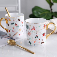 OUSSIRRO Ins European Ceramic Mug Creative Christmas Cup Gift Large Capacity Spoon Ceramic Cup Mug Coffee Cup L2233