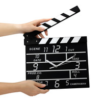 Cinema Movie Slate Analog Wall Clock Clapper Film Modern Home Black Wood Movement 1xAAbattery Movie Set
