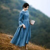 Jessica S Store Spring Autumn Women Medieval Retro Court Elegant Slim Stand Collar 100 Linen Peacock