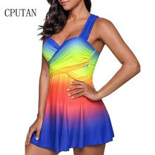 CPUTAN Plus Size Swimwear Dress Women Large Two Piece Beachwear Tankini Bandeau Push Up Bust Swimsuit Monokini 5XL