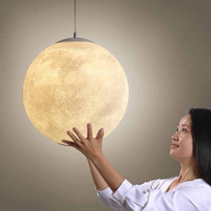 купить Post Modern Round Moon Led Pendant Light Nordic Acrylic Bar Pendant Lighting For Bedroom Hanging Fixtures Lustre Lamparas по цене 4867.94 рублей